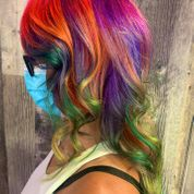woman showing multi-coloured hair