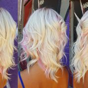 blonde with pink streaks